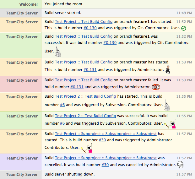 Screen shot of the HipChat plugin for TeamCity.